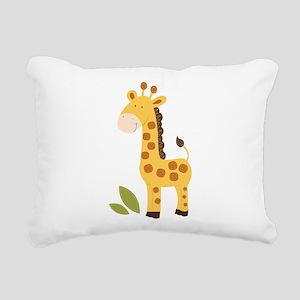 Yellow / Orange Cute Giraffe Rectangular Canvas Pi