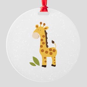 Yellow / Orange Cute Giraffe Round Ornament