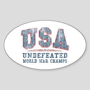 V. USA World War Champs Sticker (Oval)