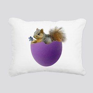 Squirrel Purple Eggshell Rectangular Canvas Pillow