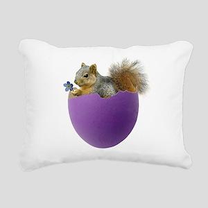 Squirrel Purple Eggshell Rectangular Canvas Pillow