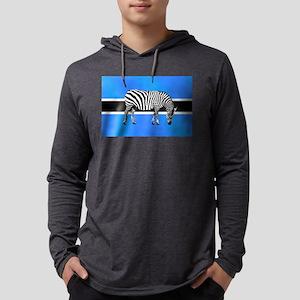 Botswana Zebra Flag Mens Hooded Shirt