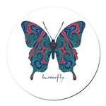 Yogi Butterfly Round Car Magnet