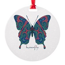 Yogi Butterfly Round Ornament