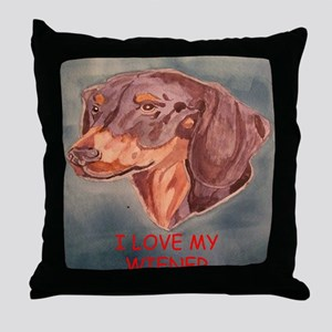 I Love My Wiener Throw Pillow