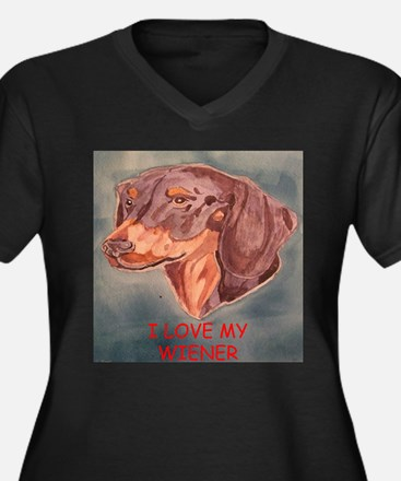 I Love My Wiener Women's Plus Size V-Neck Dark T-S