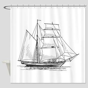 Brigantine Sailing Ship Shower Curtain