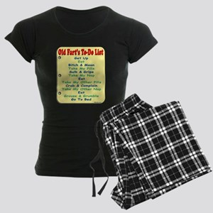 Old Fart To-Do List (s/yel) Women's Dark Pajamas