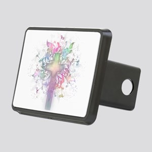 Rainbow Floral Cross Rectangular Hitch Cover