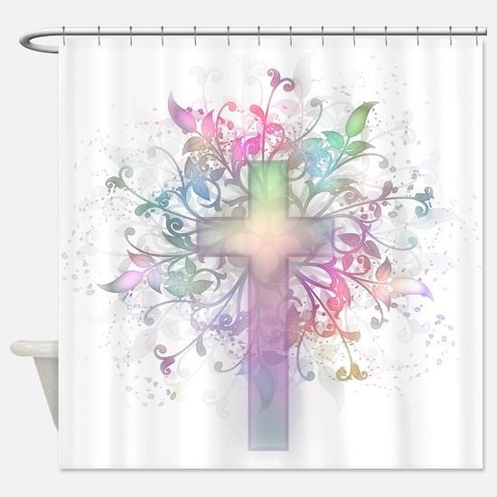 Rainbow Floral Cross Shower Curtain