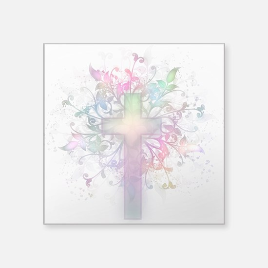 "Rainbow Floral Cross Square Sticker 3"" x 3"""