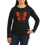 Crucifix Butterfly Women's Long Sleeve Dark T-Shir