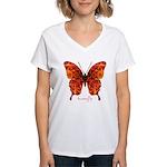 Crucifix Butterfly Women's V-Neck T-Shirt