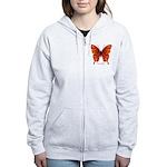 Crucifix Butterfly Women's Zip Hoodie