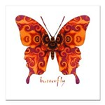 Crucifix Butterfly Square Car Magnet 3