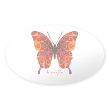 Crucifix Butterfly Sticker (Oval)