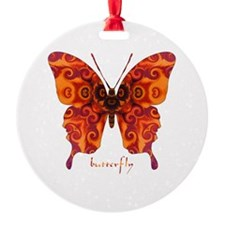 Crucifix Butterfly Round Ornament