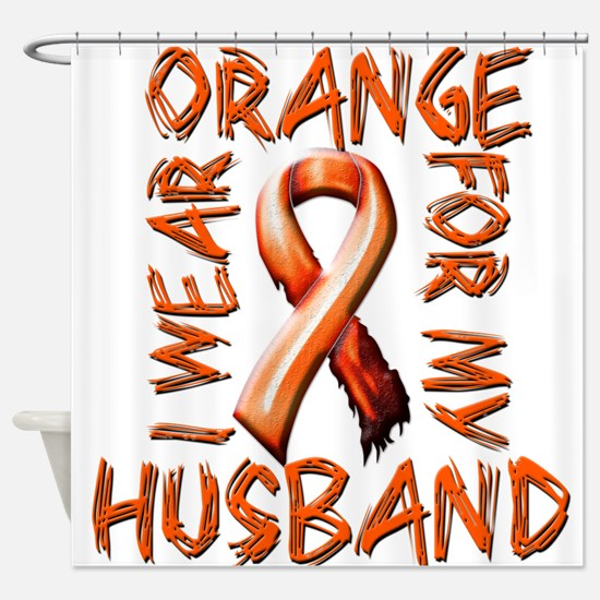 I Wear Orange for my Husband.png Shower Curtain