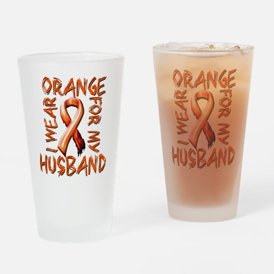 I Wear Orange for my Husband.png Drinking Glass