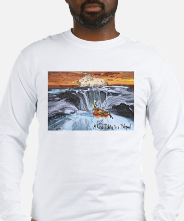 A Crab Tubing in a Tidepool Long Sleeve T-Shirt