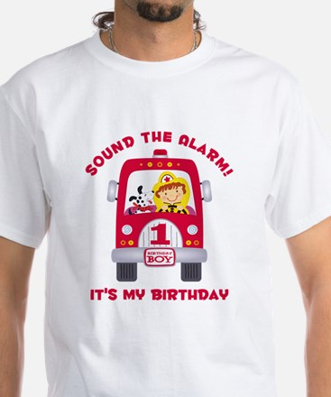 Fire Truck 1st Birthday Boy White T-Shirt