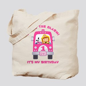 Fire Truck 1st Birthday Girl Tote Bag