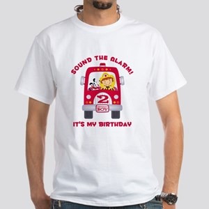 Fire Truck 2nd Birthday Boy White T-Shirt