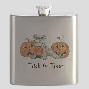Schnauzer Halloween Pumpkins Flask