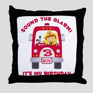 Fire Truck 3rd Birthday Boy Throw Pillow