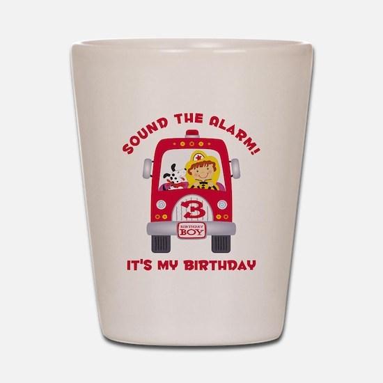Fire Truck 3rd Birthday Boy Shot Glass