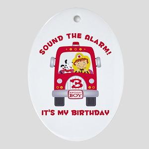 Fire Truck 3rd Birthday Boy Ornament (Oval)