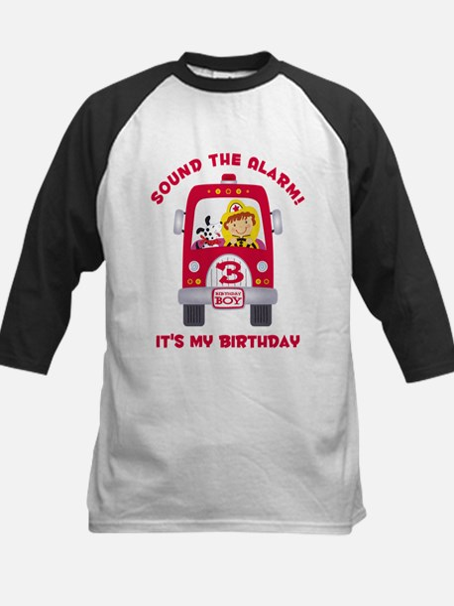 Fire Truck 3rd Birthday Boy Kids Baseball Jersey