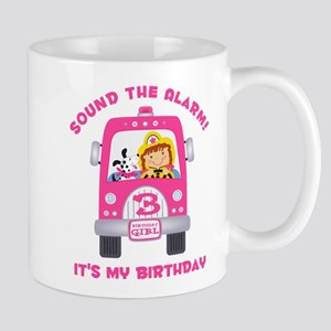 Fire Truck 3rd Birthday Girl Mug