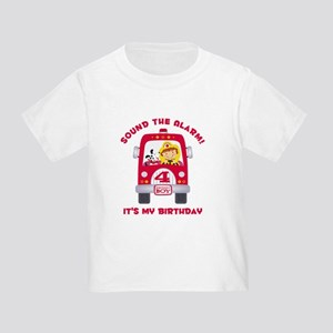 Fire Truck 4th Birthday Boy Toddler T-Shirt