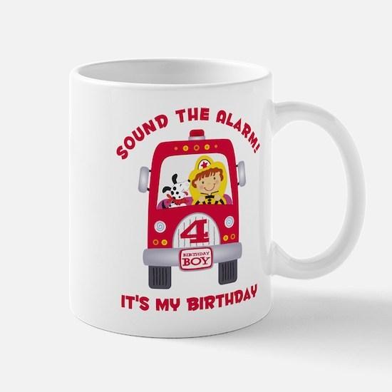 Fire Truck 4th Birthday Boy Mug