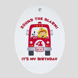 Fire Truck 4th Birthday Boy Ornament (Oval)