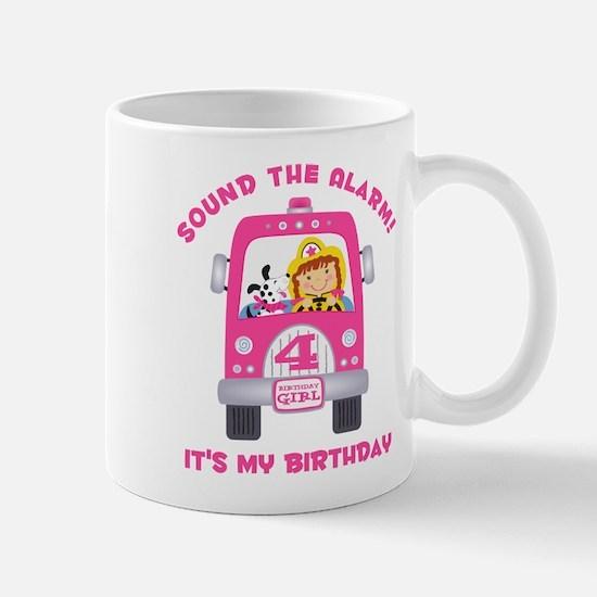 Fire Truck 4th Birthday Girl Mug