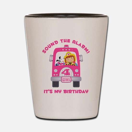 Fire Truck 4th Birthday Girl Shot Glass