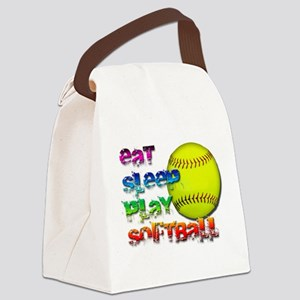 Eat sleep soft 2 png Canvas Lunch Bag