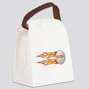 3-Side fire png Canvas Lunch Bag