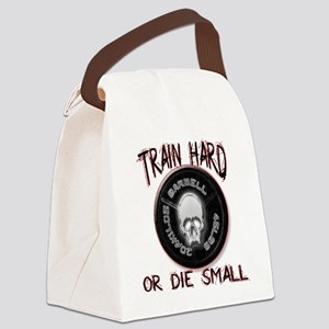 Train hard or die small png Canvas Lunch Bag