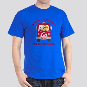 Fire Truck 6th Birthday Boy Dark T-Shirt