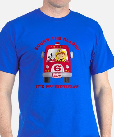 Fire Truck 6th Birthday Boy T-Shirt