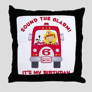 Fire Truck 6th Birthday Boy Throw Pillow