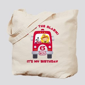 Fire Truck 6th Birthday Boy Tote Bag