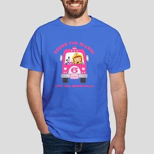 Fire Truck 6th Birthday Girl Dark T-Shirt