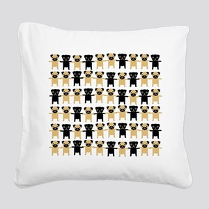 RowsOPugs Square Canvas Pillow