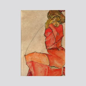 Schiele - Orange Dress Rectangle Magnet