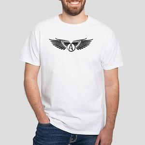 Winged Atheist Symbol White T-Shirt