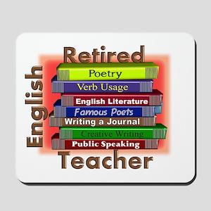 Retired English Teacher Book Stack Mousepad